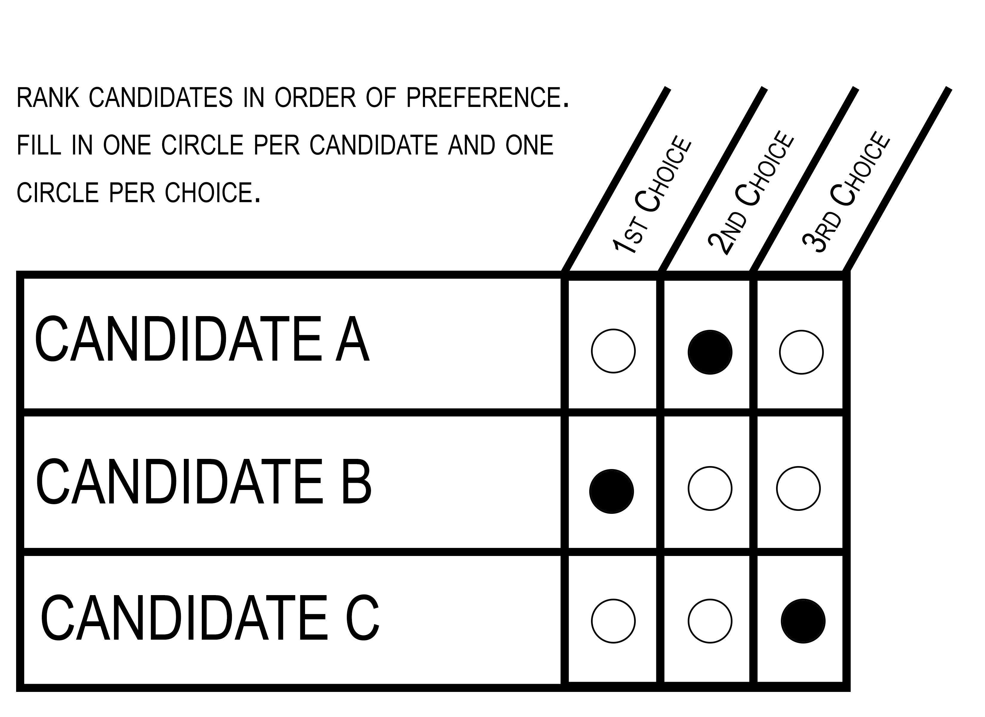 A model ranked choice ballot.