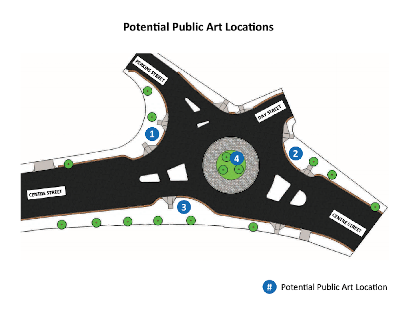 A map showing the potential public art locations in Hyde Park