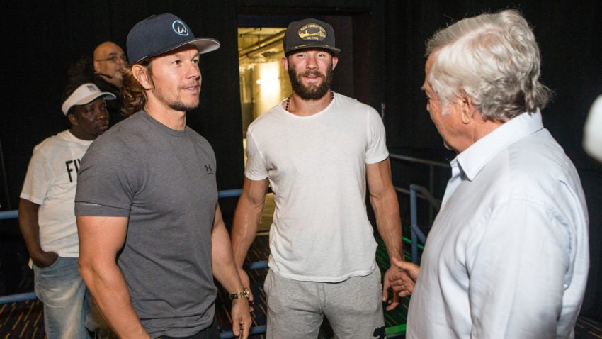 mark wahlberg went to foxborough to screen his new movie