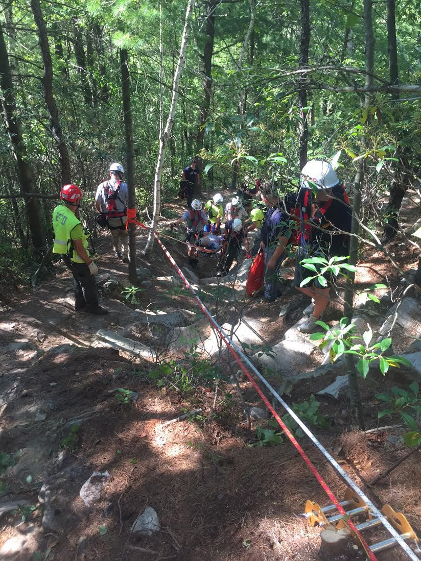 An injured hiker was rescued on Monument Mountain yesterday afternoon.