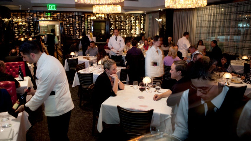 Woburn, MA -- 10/25/13 -- A view of the dining room on a busy Friday night at Strega Prime Steakhouse in Woburn, Massachusetts. (Kayana Szymczak for The Boston Globe)