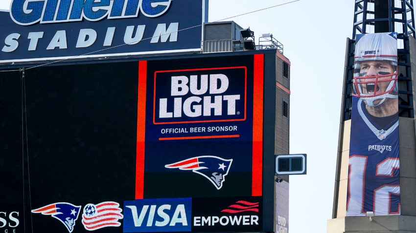 afe0c7680877c The Patriots hung up a giant banner of Tom Brady at Gillette Stadium ...