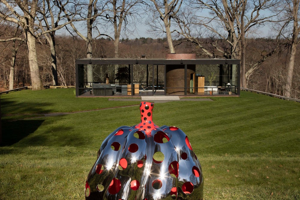 """This undated photo provided by The Glass House shows part of the art exhibit titled """"Yayoi Kusama: Narcissus Garden,"""" at The Glass House in New Canaan, Conn. (Richard Barnes/The Glass House via AP)"""