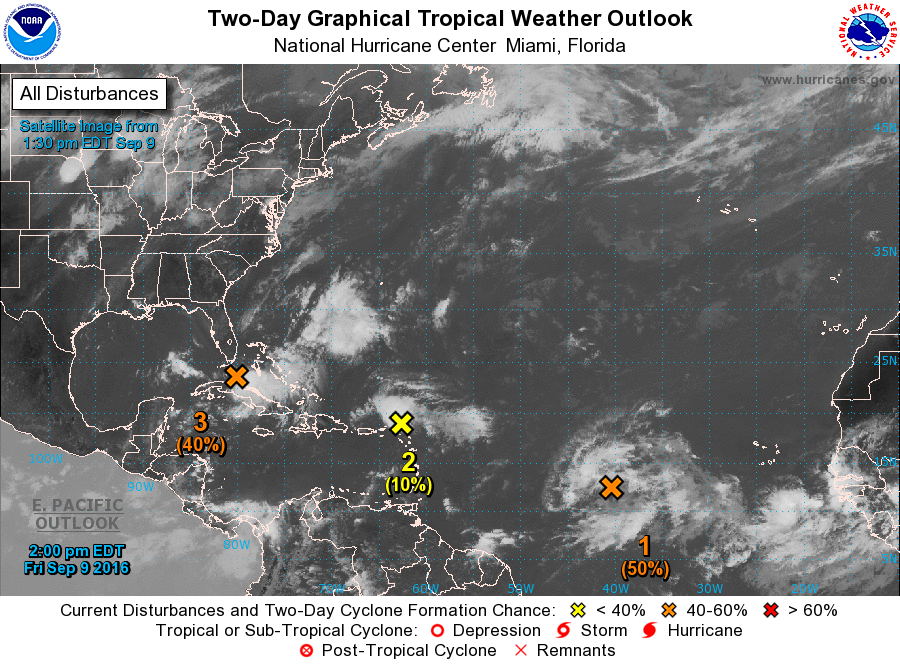 The National Hurricane Center monitors clusters of thunderstorms for potential development
