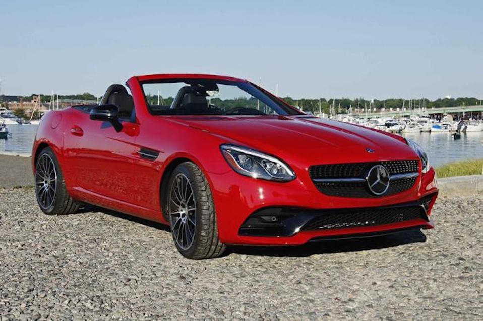 TOP-DOWN STYLING: The Mercedes-Benz SLC300 roadster particularly enjoys convertible weather. It's updated styling makes it at home anywhere, whether the view is from the front or the rear.