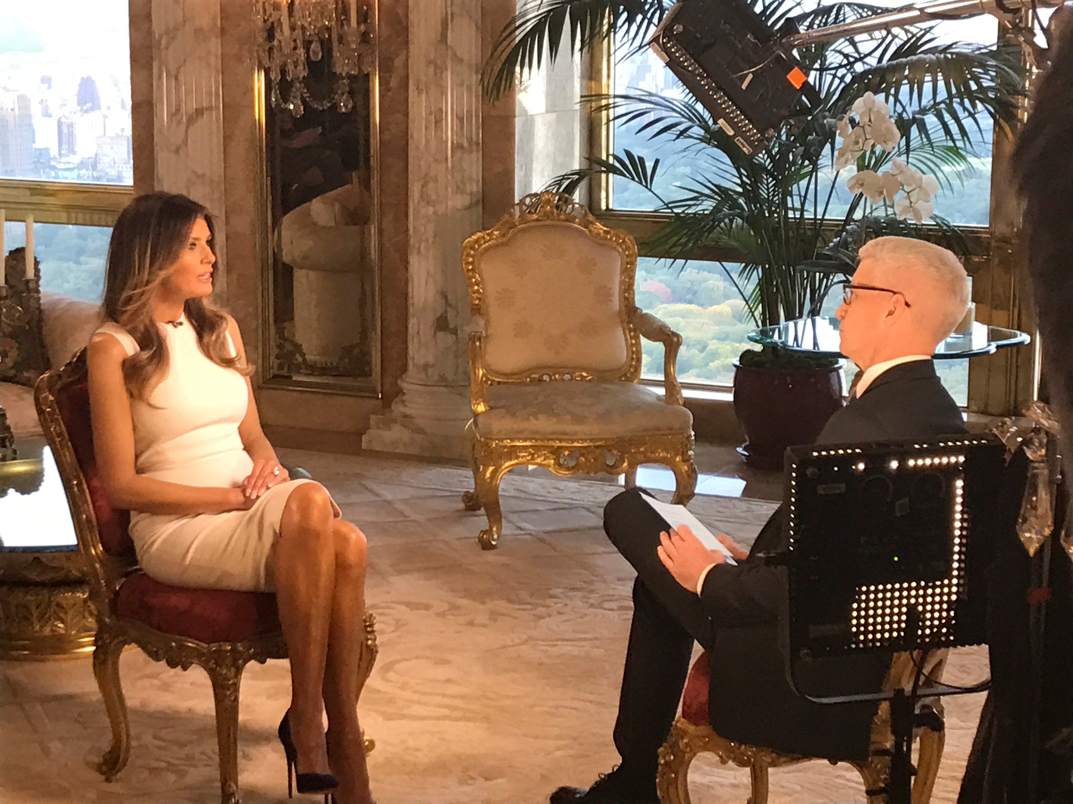 Melania Trump sits down with CNN television host Anderson Cooper during an exclusive interview in New York, to be aired October 17, 2016. Courtesy CNN/Handout via REUTERS ATTENTION EDITORS - THIS IMAGE WAS PROVIDED BY A THIRD PARTY. EDITORIAL USE ONLY.NO RESALES. NO ARCHIVE.