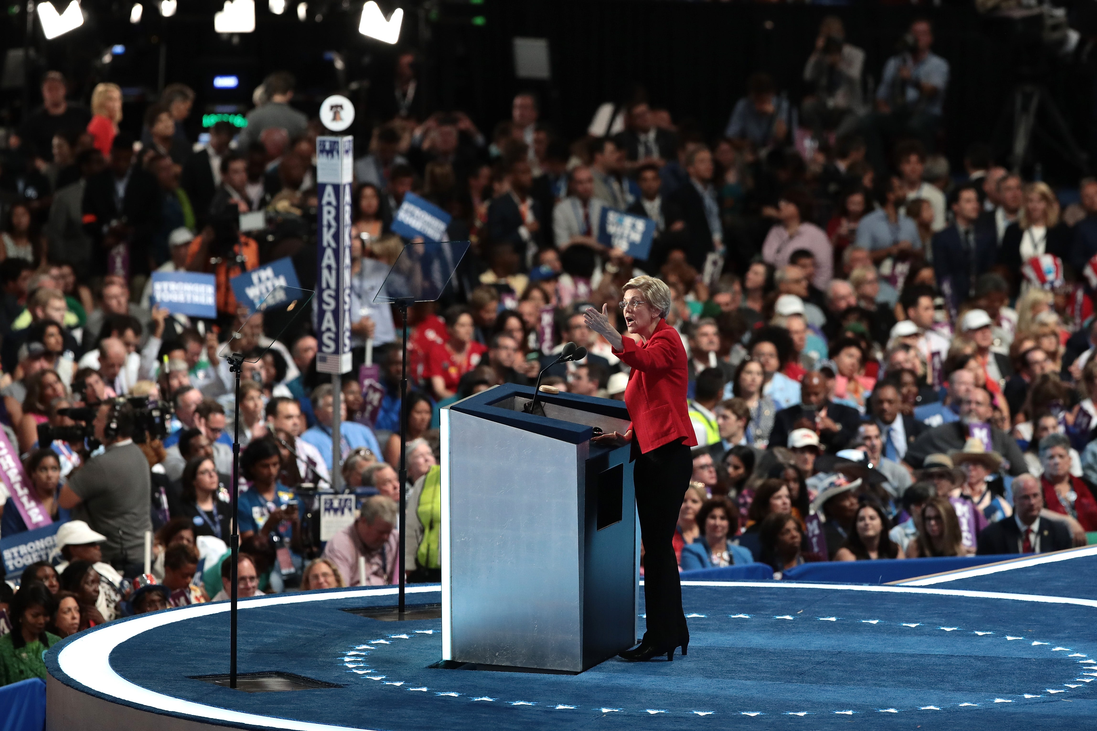 PHILADELPHIA, PA - JULY 25:  Sen. Elizabeth Warren (D-MA) delivers remarks on the first day of the Democratic National Convention at the Wells Fargo Center, July 25, 2016 in Philadelphia, Pennsylvania. An estimated 50,000 people are expected in Philadelphia, including hundreds of protesters and members of the media. The four-day Democratic National Convention kicked off July 25.  (Photo by Drew Angerer/Getty Images)