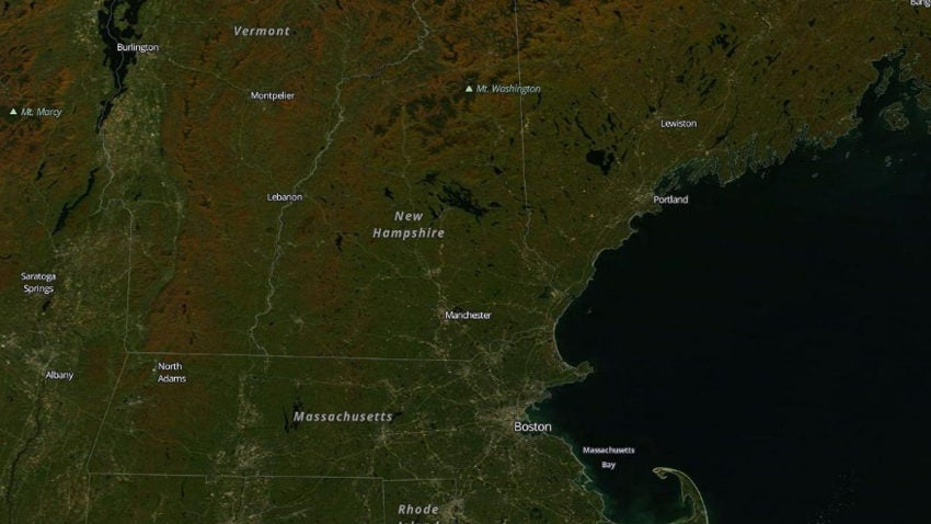 This satellite image shows where New England foliage is ...