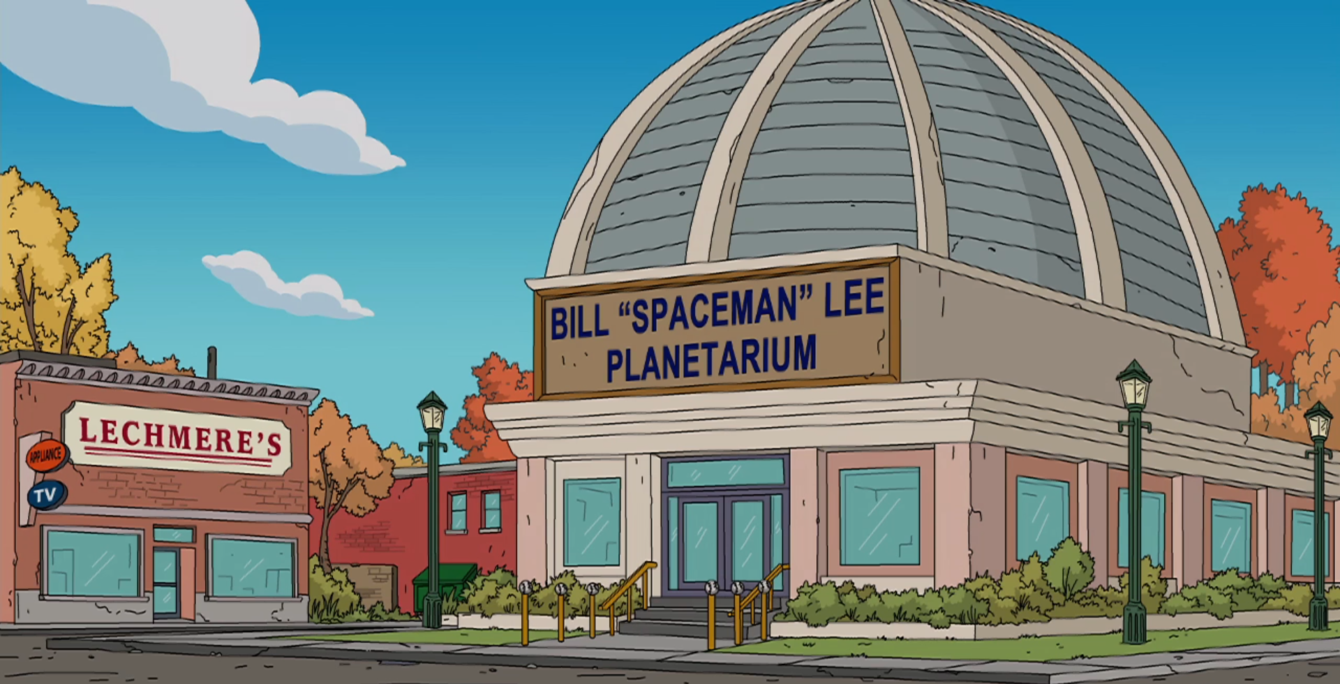 """Lechmere's and the Bill """"Spaceman"""" Lee Planetarium in The Simpsons."""