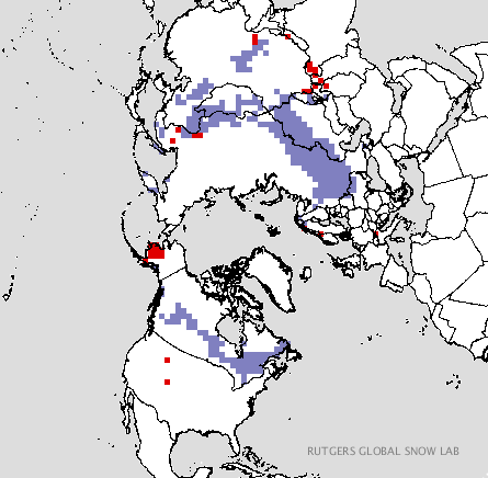 Snow cover has expanded rapidly south of the arctic circle this year. Purple areas represent snow cover above average