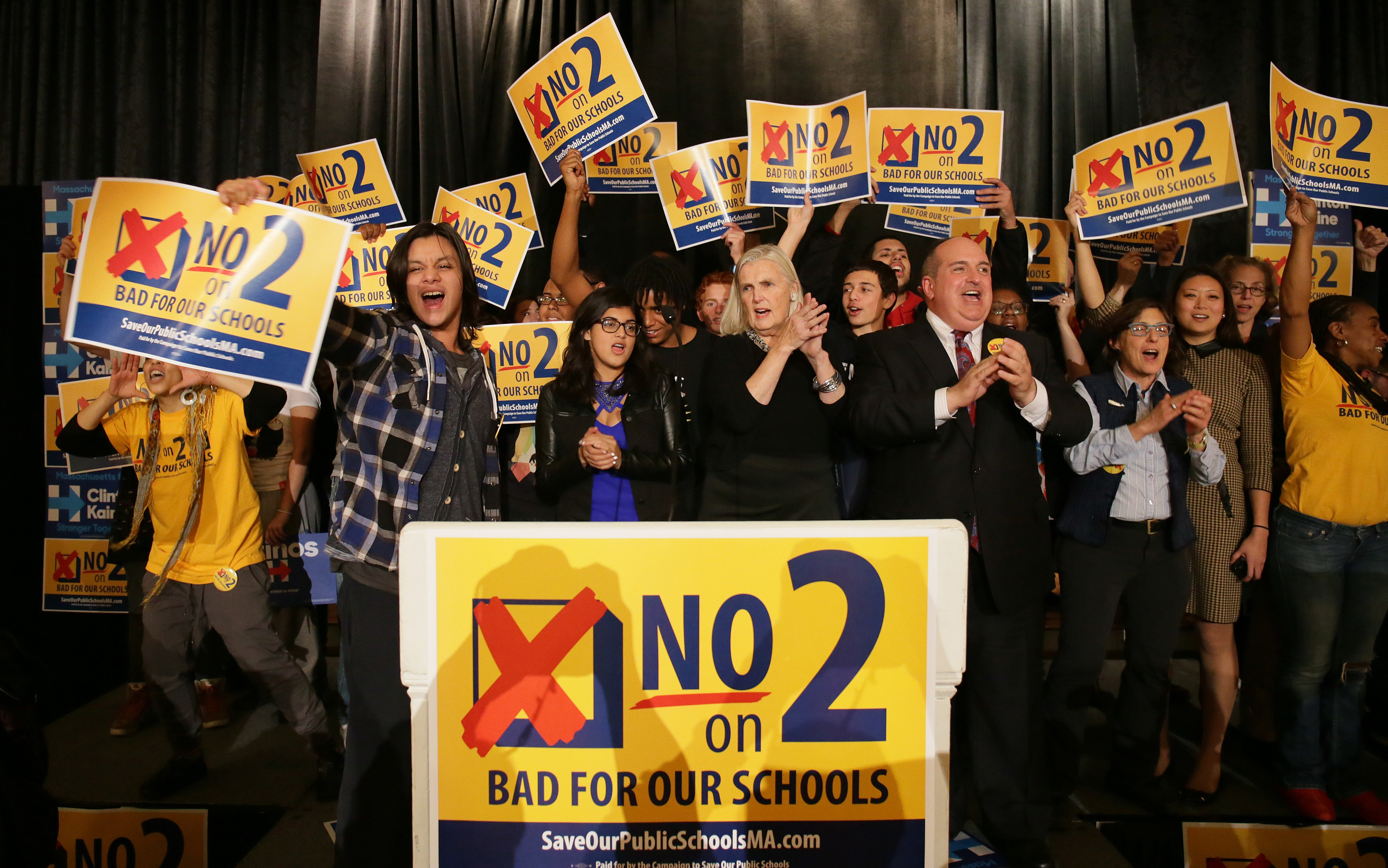 Boston, MA - 11/08/2016 - Anti-charter school activists celebrate tonight's results at a joint gathering at the State Democratic Party Election Night party at Fairmount Copley Plaza. - (Barry Chin/Globe Staff), Section: Metro, Reporter: David Scharfenberg, Topic: 09charter, LOID: 8.3.563314803