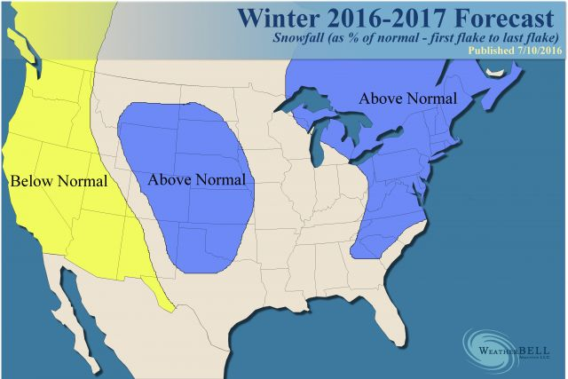 Weatherbell Analytics is predicting a snowy winter for the northeast this year.