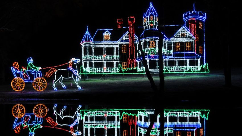 The Everett Barney Mansion at Bright Nights in Springfield.