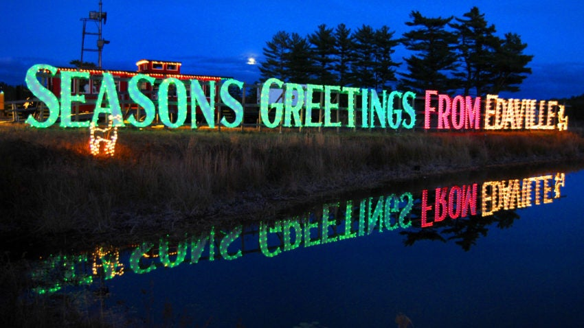 Carver 11/21/2010 - At the Edaville Railroad Christmas Festival of Lights, in what may be it's final season, hundreds came to enjoy the train ride and lights. A sign greets visitors. Photo by Debee Tlumacki for the Boston Globe (south) Reporter: Christine Legere