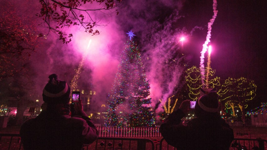 Boston, MA - 12/3/2015 - Fireworks explode near the tree during the annual Christmas tree lighting in the Boston Common in Boston, MA, December 3, 2015. (Keith Bedford/Globe Staff)