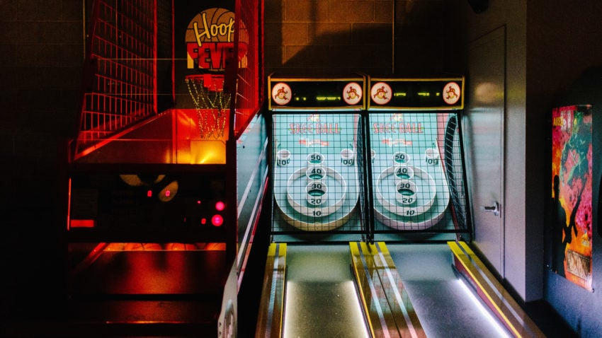 Skee-Ball and Pop-A-Shot at A4cade by Area Four.