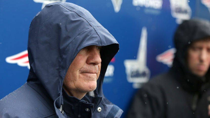 Bill Belichick S Rain Jacket Hood At Patriots Camp Inspired A Deluge Of Sith Lord Memes Boston Com
