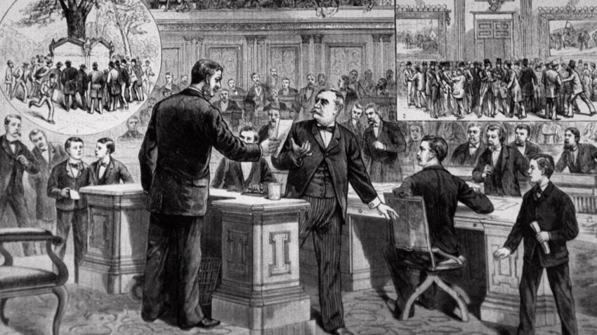the events leading to the impeachment of andrew johnson The impeachment of andrew johnson occurred in 1868, when the united states  house of  the subsequent trial (and acquittal) of johnson were among the most  dramatic events in the political life of the nation during the reconstruction era.