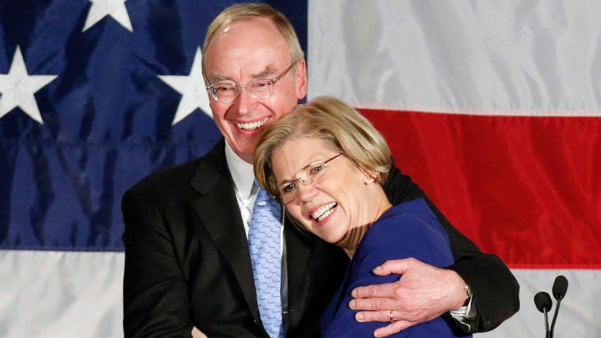 Bruce Mann Jr., a Professor of Law at Harvard Law School and a legal historian, with his wife Elizabeth Warren of the Democratic party,