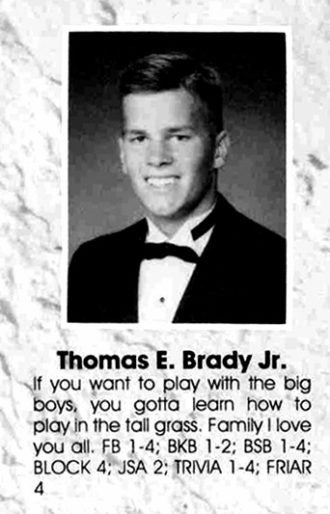 Tom Brady featured in the Junipero Serra High School 1995 yearbook.  —Junípero Serra High School cdaa58c22