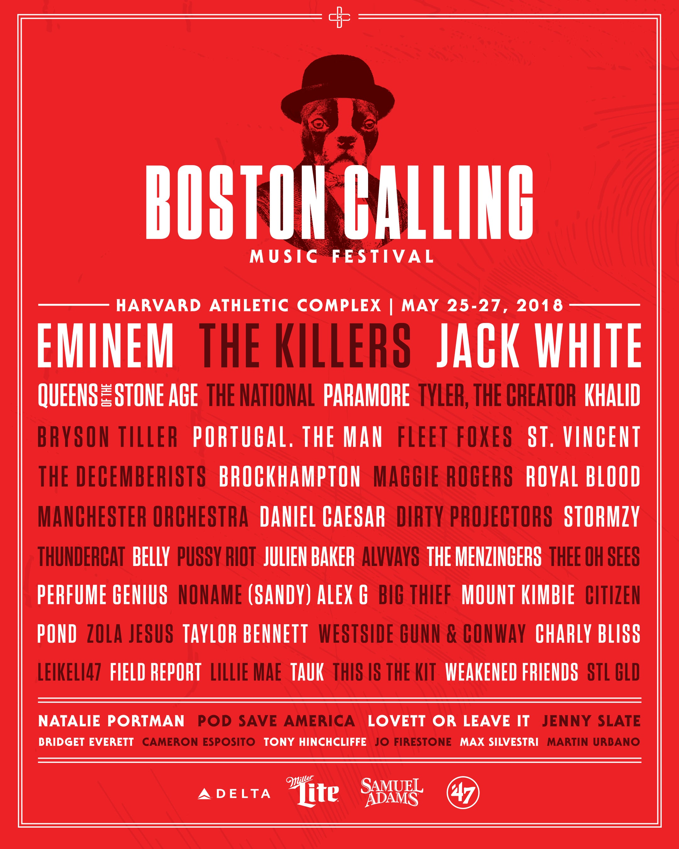 The 2018 Boston Calling lineup.