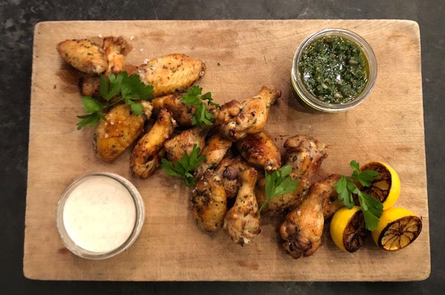 Healthy maple-brined wings made at Sweet Cheeks Q
