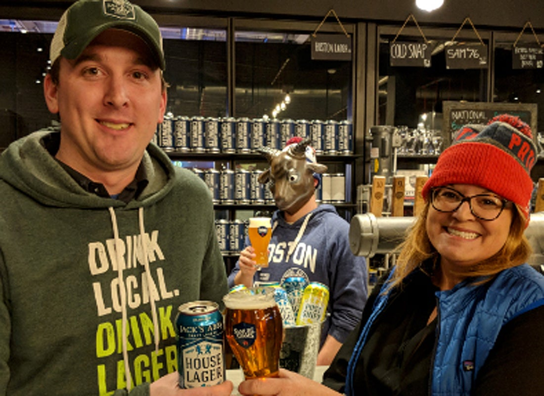 Samuel Adams and Jack's Abby breweries have placed a friendly wager on the Super Bowl with Philly breweries
