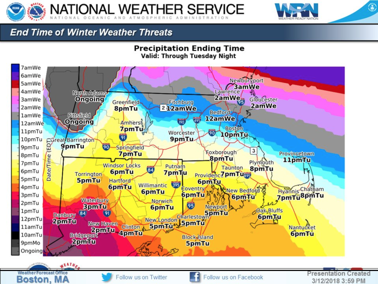 Anticipated end times for the winter storm in Massachusetts