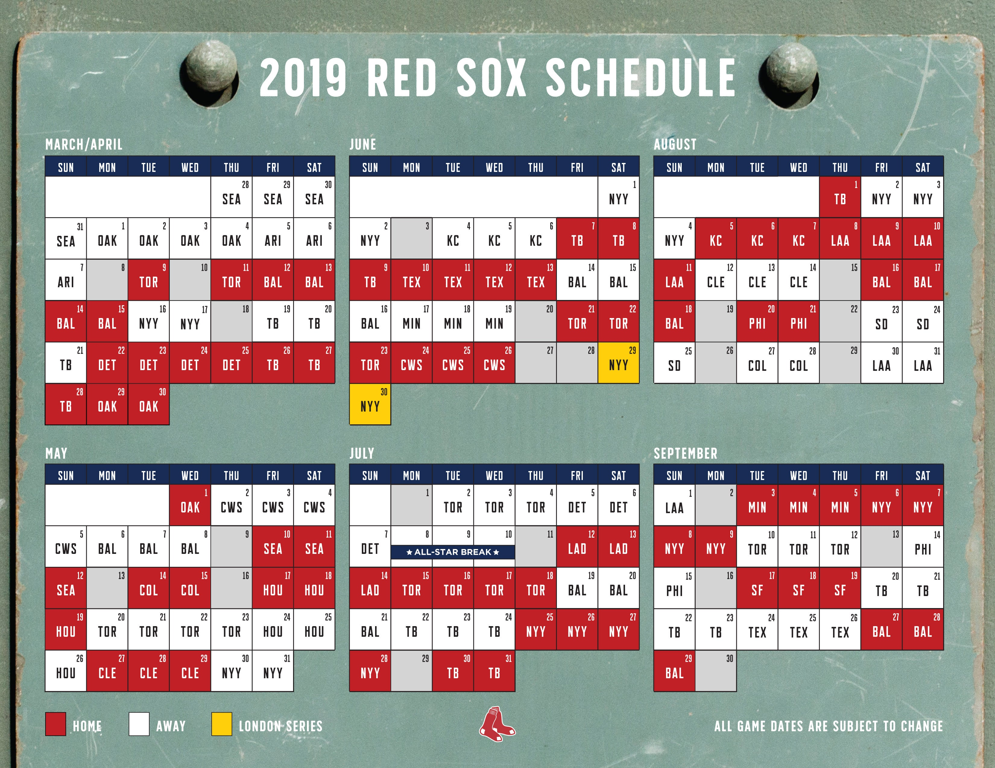 Red Sox Calendar 2019 Here's the Red Sox schedule for the 2019 season | Boston.com