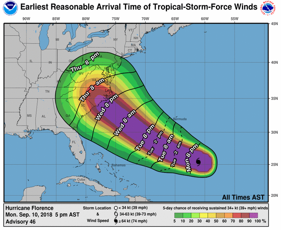 4 Maps Predicting Hurricane Florence S Path Timing Wind Speeds