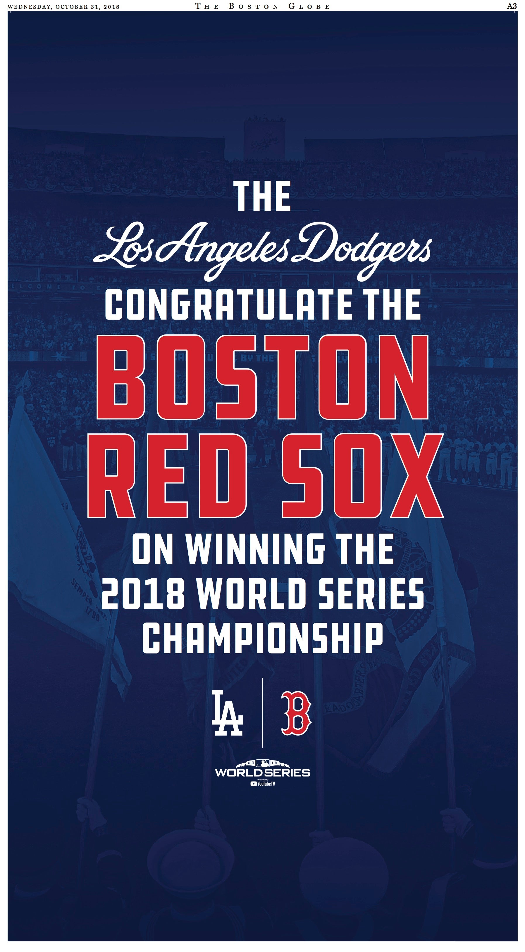 Dodgers congratulate Red Sox with full page ad in the Globe | Boston com