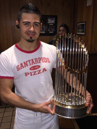 Santarpio's pizza World Series trophy