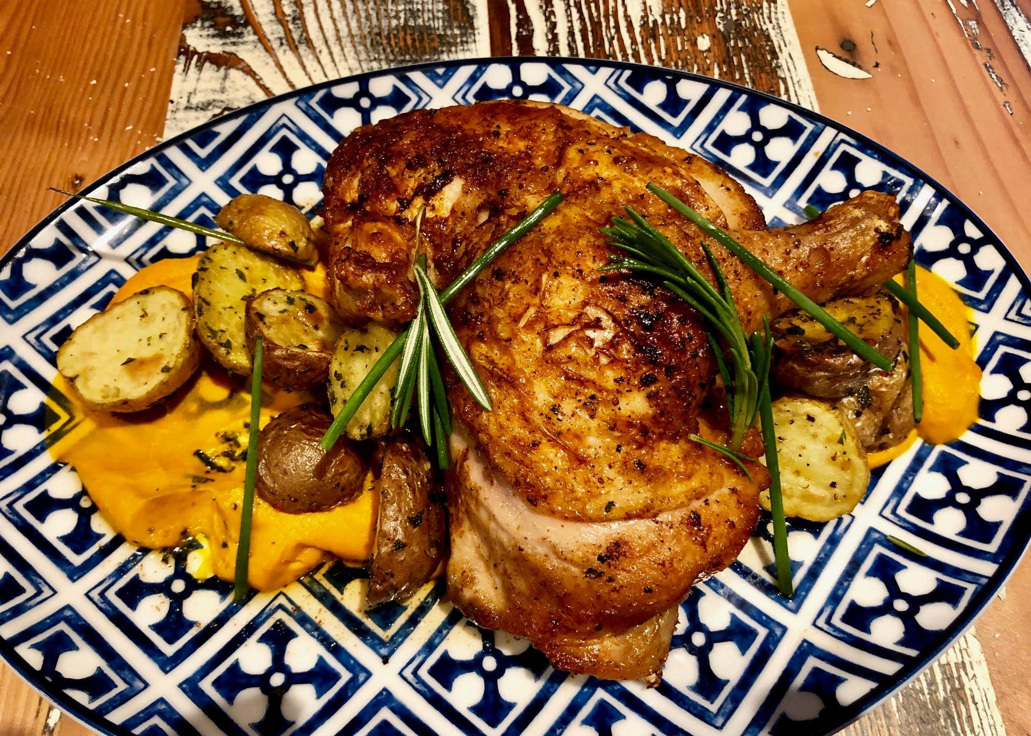Brick chicken at Bar Mercato