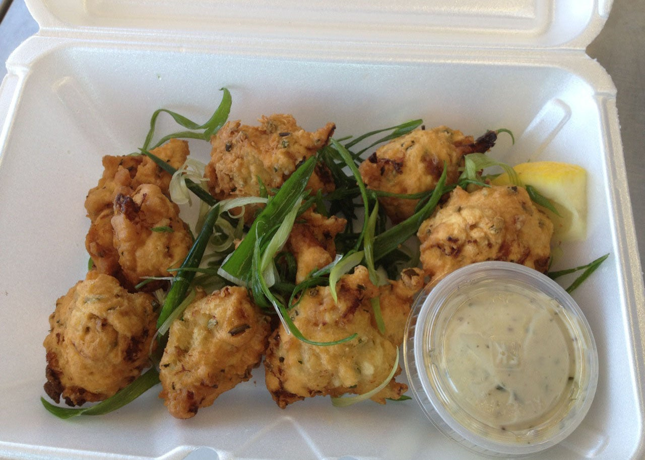 Clam fritters at Captain Marden's