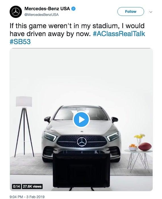 Mercedes-Benz's now-deleted Super Bowl tweet.