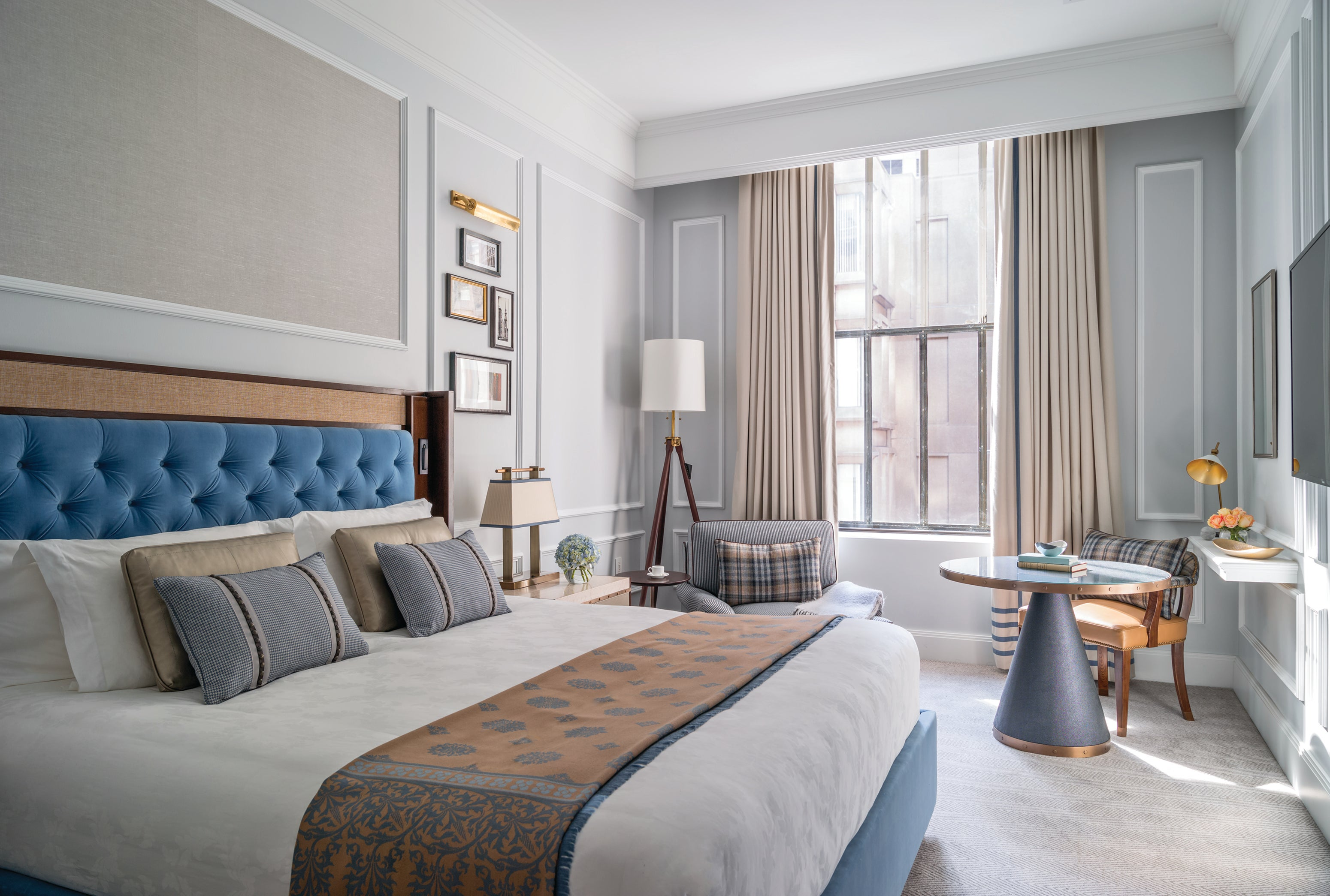 A renovated room at The Langham, Boston