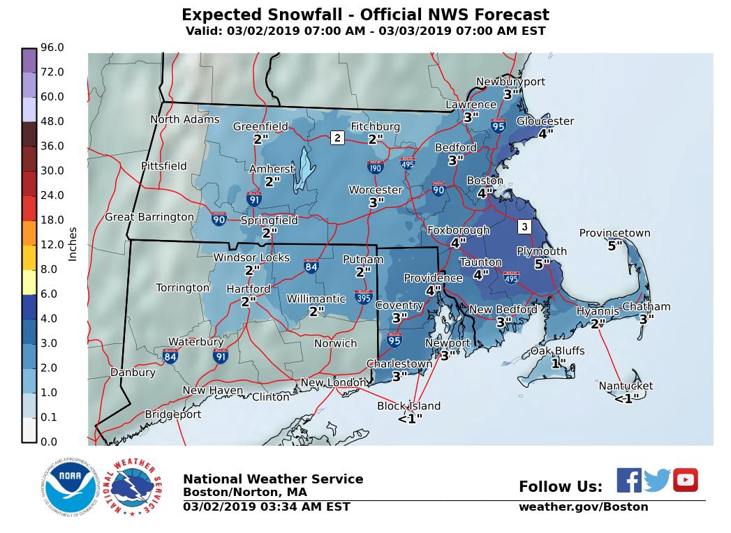 Snowfall predictions for Saturday