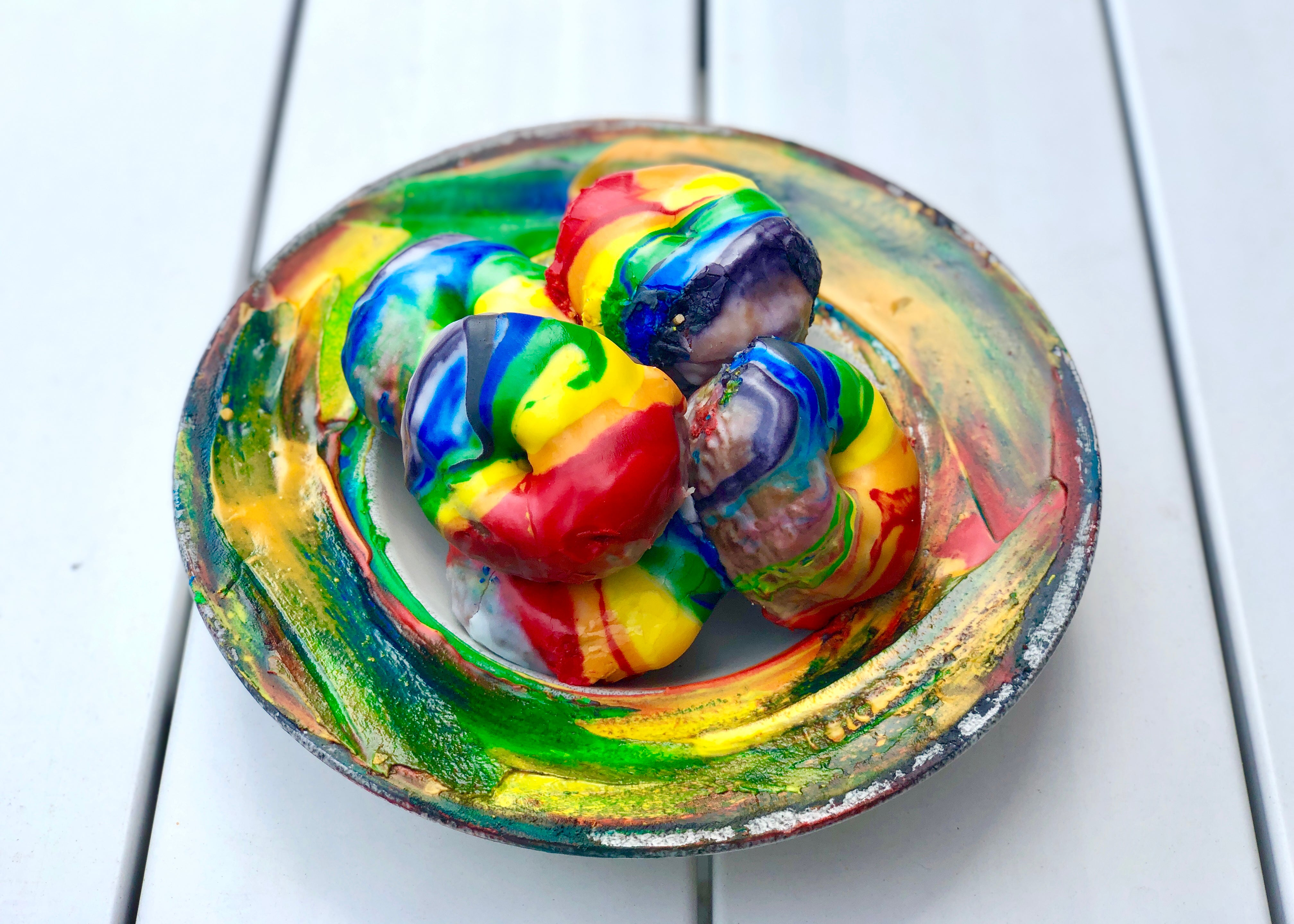 Funfetti Brioche Donut with Rainbow Glaze at OAK