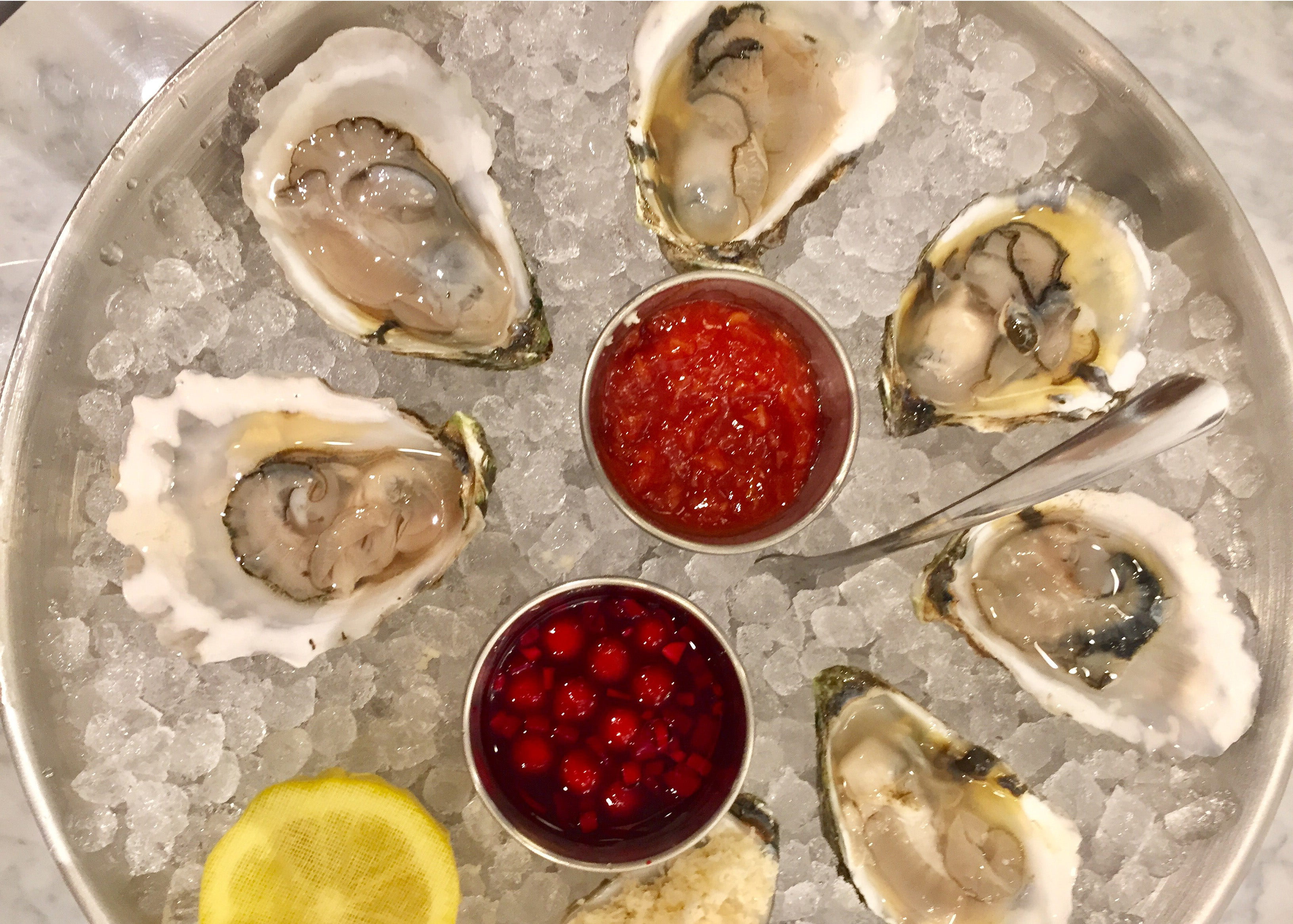 An oyster platter at The Oyster Club