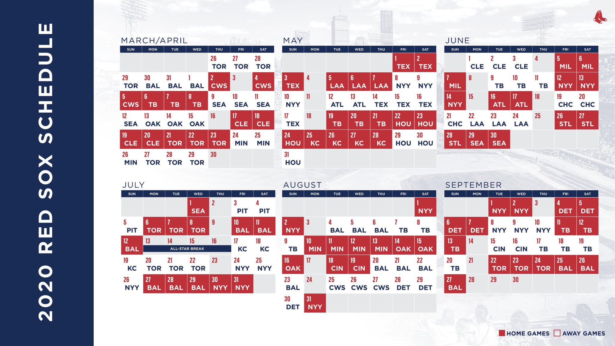 Cubs Schedule 2020 Printable.Here S The 2020 Red Sox Schedule Boston Com