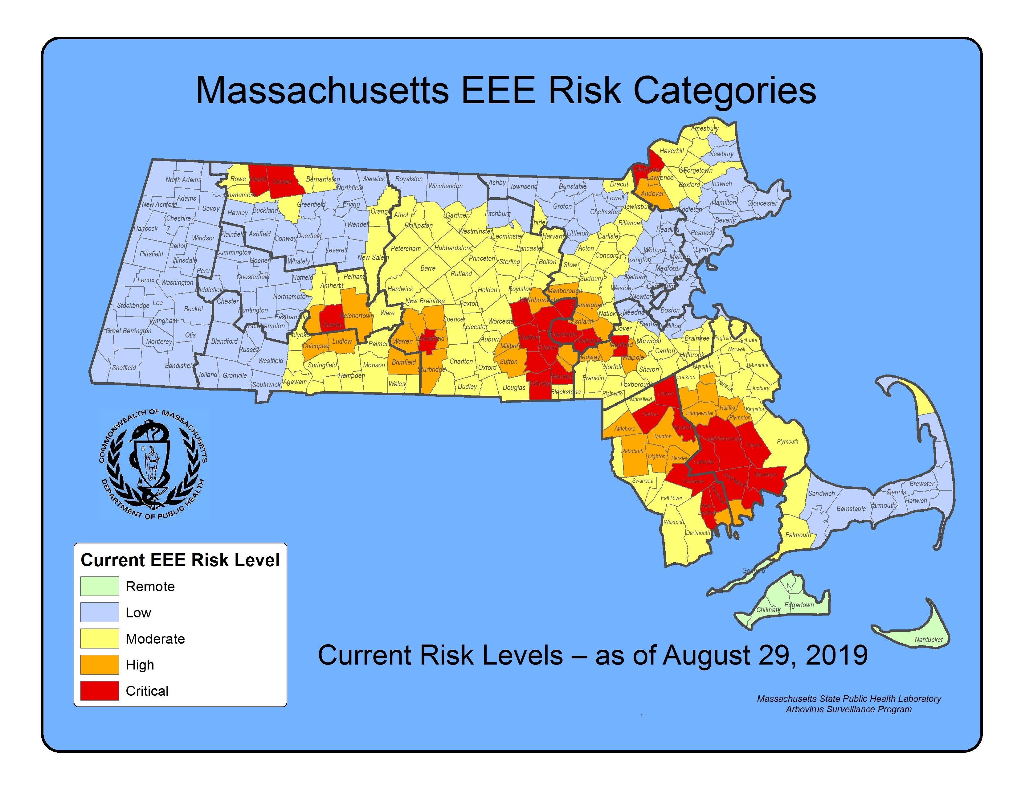 Here's a map showing EEE risk levels across Machusetts ... on
