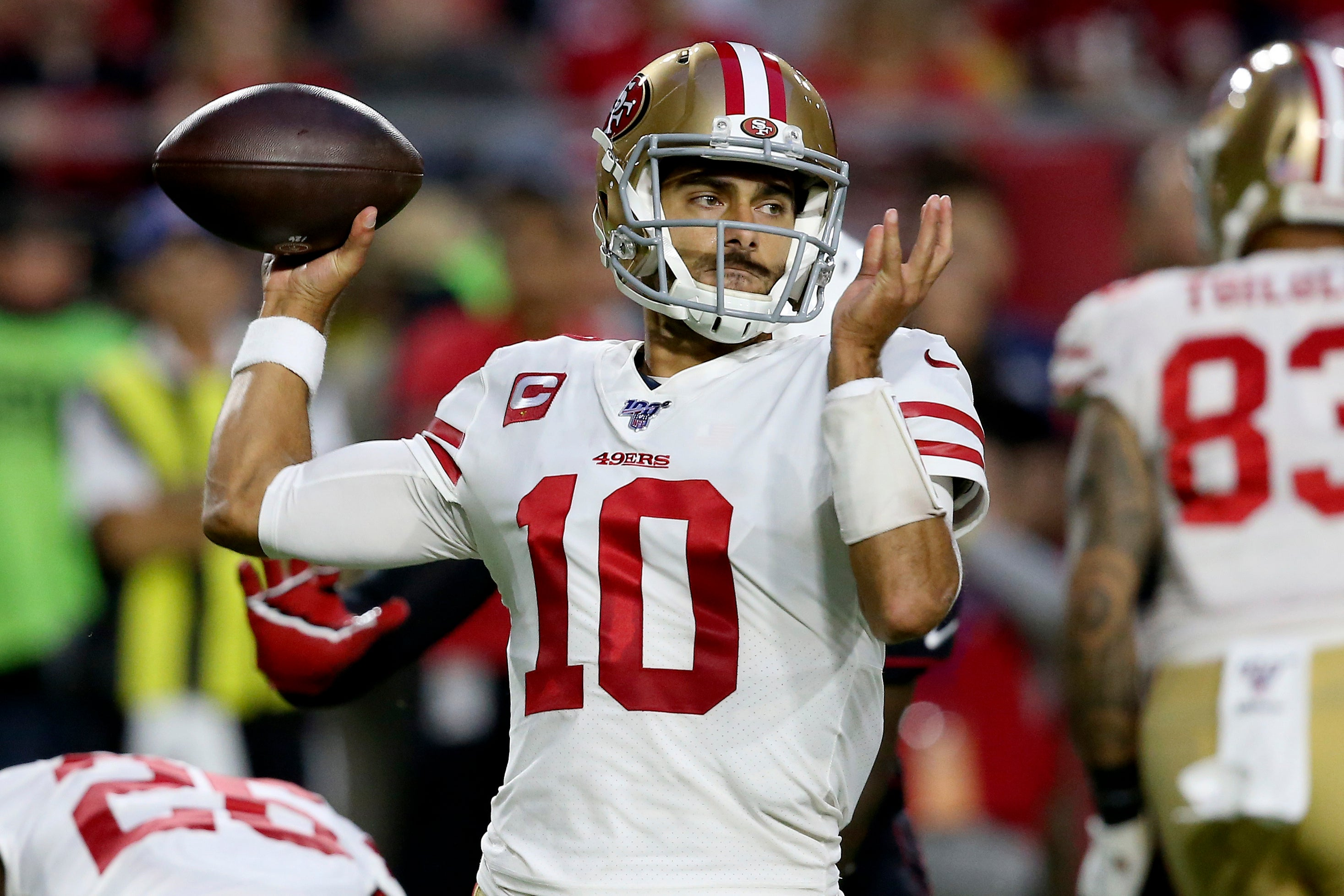Jimmy Garoppolo Throws 4 Td Passes 49ers Improve To 8 0