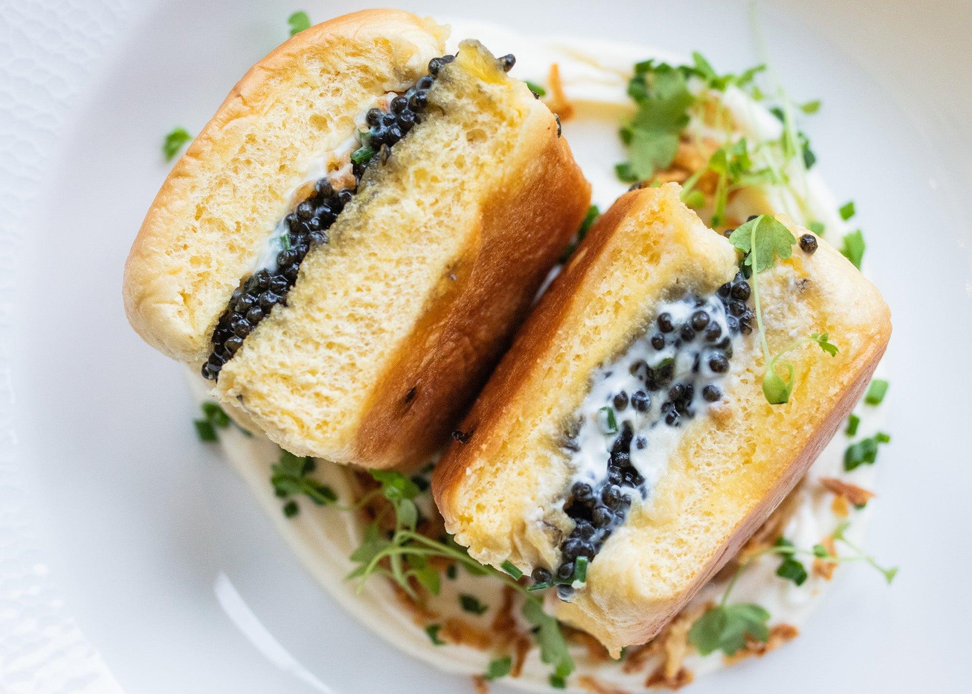 American caviar panini at Six West