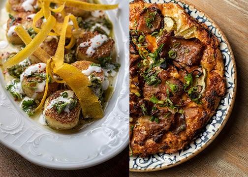Fufú gnocchi and lechón pizza at Mariel