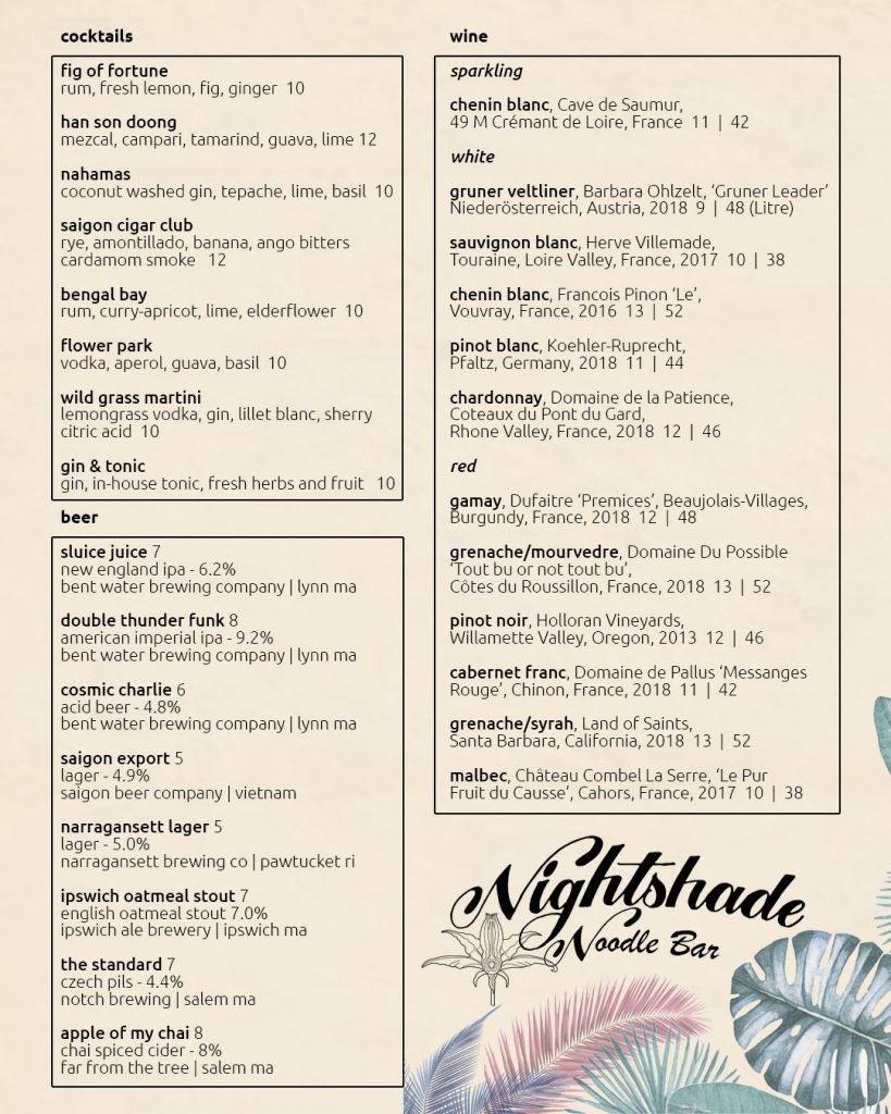 Nightshade Noodle Bar cocktail menu