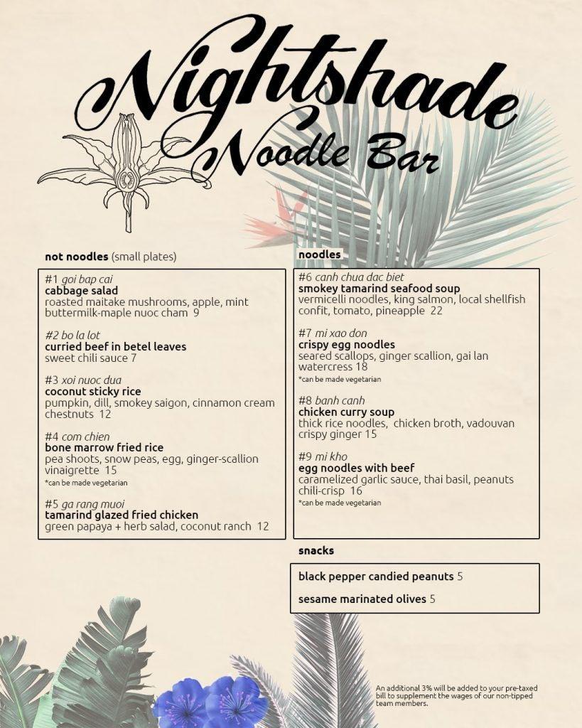 Nightshade Noodle Bar dinner menu
