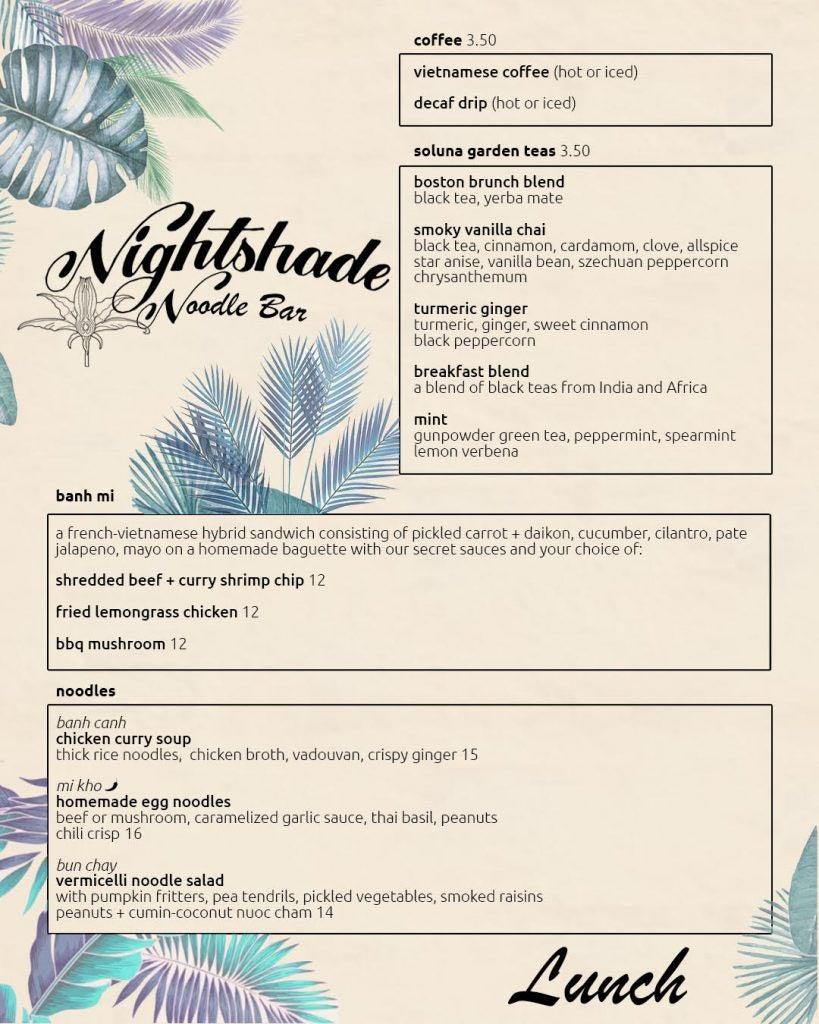 Nightshade Noodle Bar lunch menu