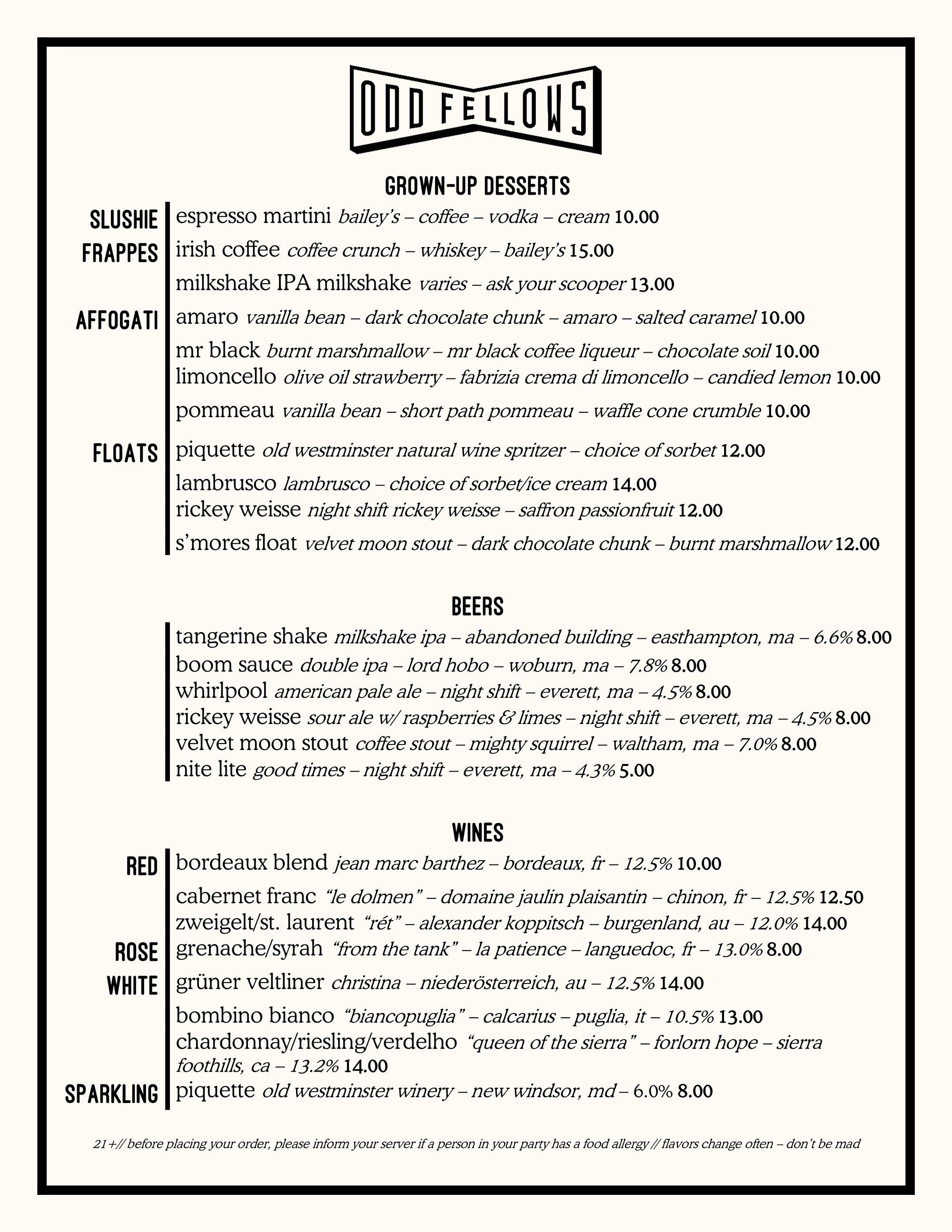OddFellows Ice Cream Co. drink menu