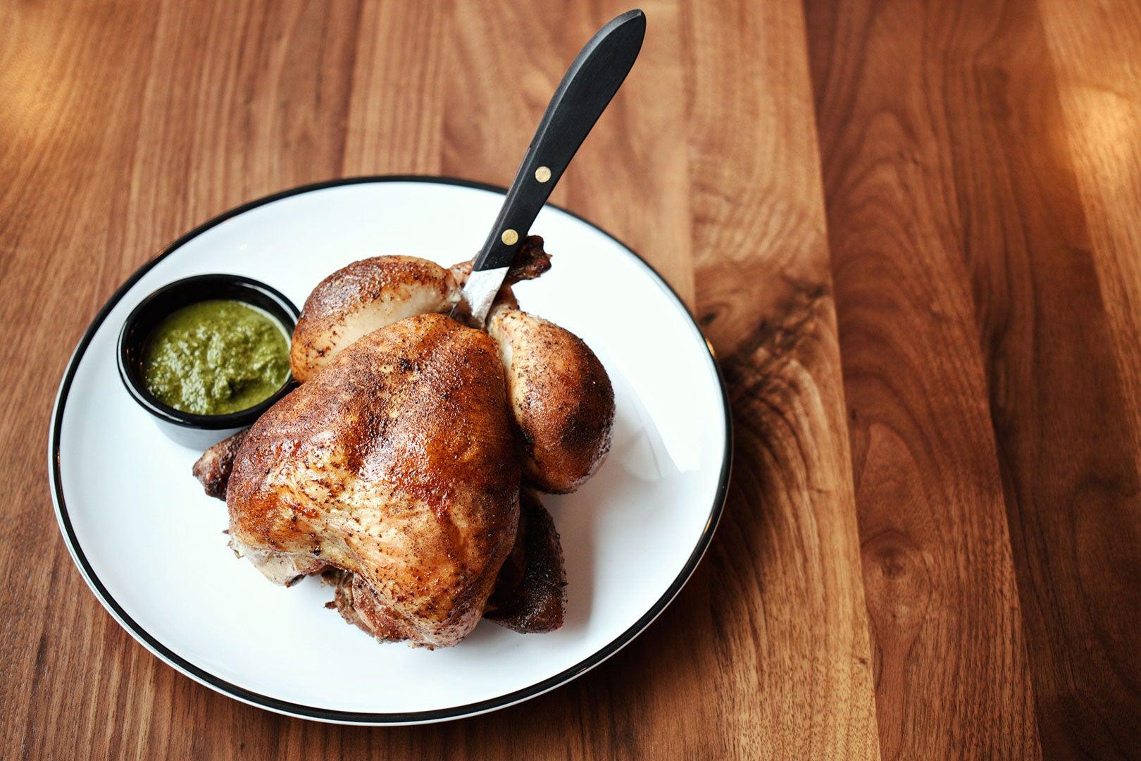 Rotisserie chicken at Shy Bird