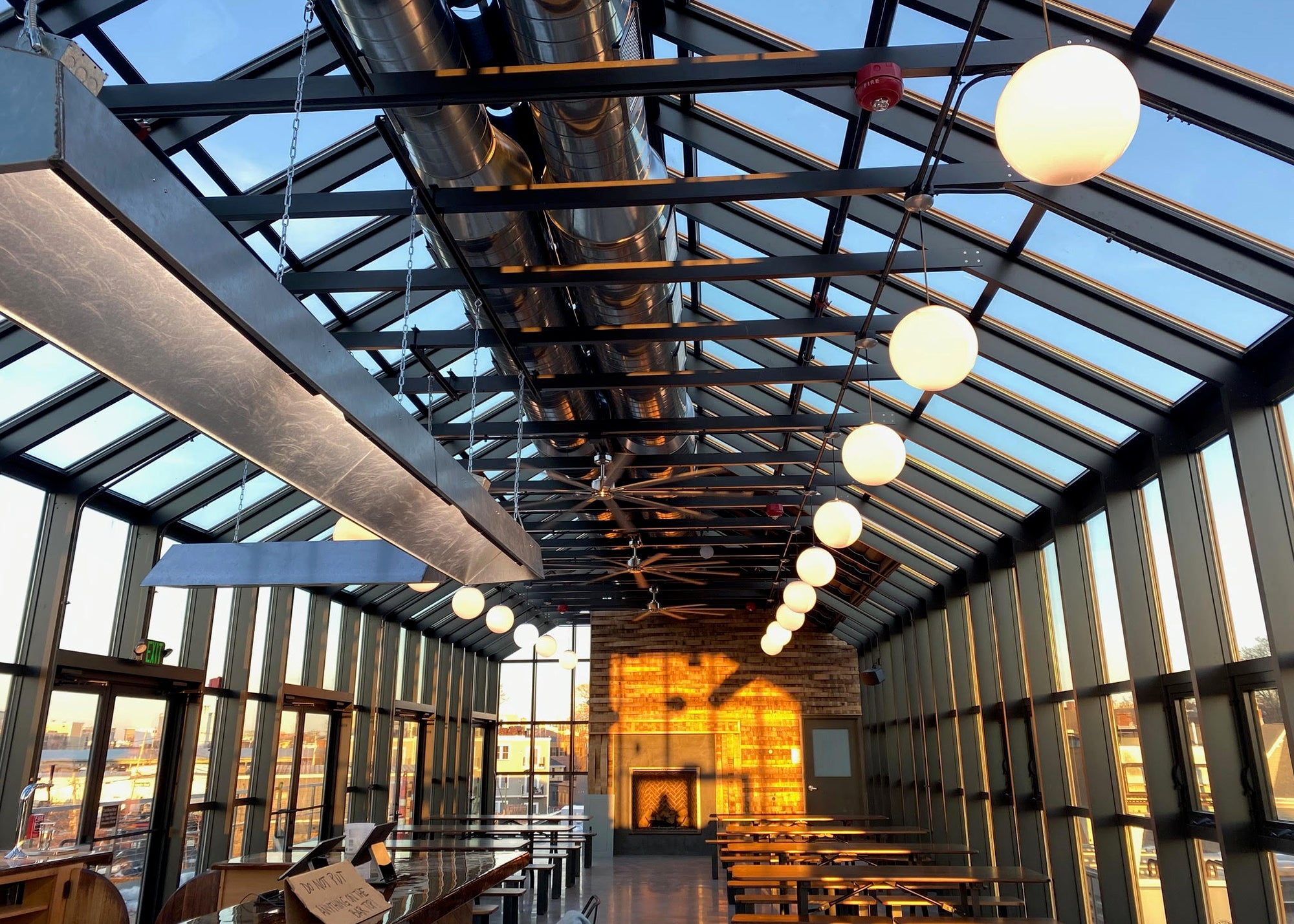 The rooftop beer hall at Dorchester Brewing Co.